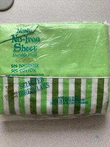 Vintage WestPoint Pepperell Percale King Flat Sheet green Muslin Rare