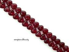 50 Garnet Red Preciosa Czech Pressed Bohemian Glass 6mm Puffed Heart Beads
