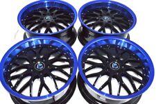 4 New DDR R6 18x8 5x114.3 35mm Black Blue Lip Wheels Rims