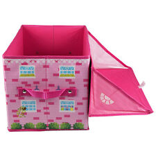Kids Toy Box Collapsable Storage Organizer Hamper Bin Bascket Girls Pink House
