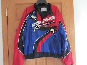 Polaris  Red Blue & Black Racing Jacket Snowmobile Logo Large READ DESCRIPTION