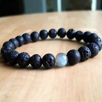 8mm Natural Volcanic Stone Handmade Mala Bracelet Buddhism Lucky Healing Wrist