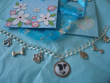 """""""JACK RUSSELL TERRIER""""  Blk/white. Charm Bracelet  NEW with gift bag"""