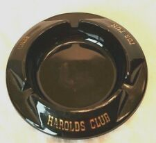 Harold's Club for Fun Reno Black Glass Vintage Ashtray Round Casino Souvenir