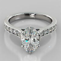 2.32 Ct Oval Cut Solitaire Diamond Wedding Ring 14K Solid White Gold Rings +18