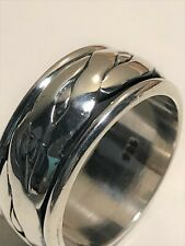 10MM 925 Sterling Silver Taxco Silver Spinner Rings, Band Men or Women Ring 11 g