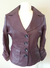 Womens Ladies Jacket Designer Leather Burgundy Fall Short Edgy Button Down Lined