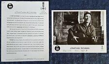 """JONATHAN RICHMAN  - 8"""" X 10"""" BLACK & WHITE  PUBLICITY PHOTO - (2) PG BIO"""