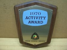 Vintage American Motorcycle Association Ama Activity Award Plaque 1970