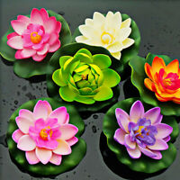Artificial Water Lily Floating Flower Lotus Home Yard Pond Fish Tank Decor DEL