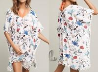 AU SELLER Oversize Chiffon Fringe Kaftan Top Shirt Beach Kimono Cover UP sw061-3