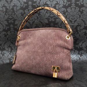 Rise-on  LOUIS VUITTON Monogram Whisper PM Suede Python Purple Tote Bag #8