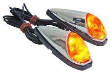 Paire de clignotants à coller 12V chromé scooter 50 cligno lampe goutte d'eau