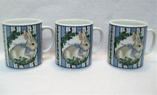 3 VTG 1986 George Good Fabrizio Mugs BUNNY RABBIT Raspberry Blackberry Easter