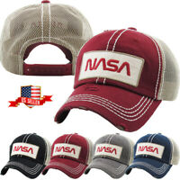 NASA Vintage Distressed Meshback Baseball Cap Adjustable Hat
