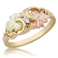 10K Black Hills Gold Ladies Ring with Diamond Size 4 -11