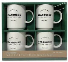 Starbucks Coffee Company 14 OZ Ceramic Mugs Gift Set Stackable 4 Pack NEW