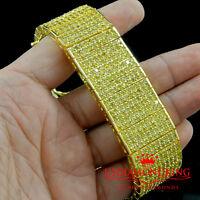"MENS 14K YELLOW GOLD FINISH CANARY LAB DIAMOND 10 ROWS TENNIS BRACELET 66g 7.75"""