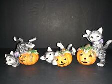 Set of 3 Fitz & Floyd Halloween Ceramic Cats Figurines Pumpkins Fall Decor L@K
