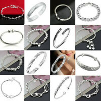 925 Silver Plated Crystal Rhinestone Cuff Bangle Bracelet Wedding Charm Jewelry