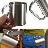 220ML Stainless Steel Camping Traveling Cup Metal Outdoor Cup Carabiner shan