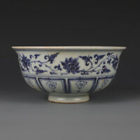 Fine Chinese Yuan Dynasty old antique Porcelain blue white dragon bowl