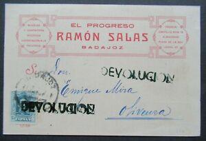 1928 INVOICE POSTCARD FROM SPAIN ESPANA DEVOLUCION CANCEL B378.22 START $0.99