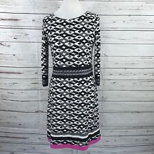 Eliza J Women's A-Line Dress Black Pink Gray Geometric 3/4 Sleeves Size 8  NWT
