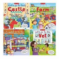 Let's Go to the Collection Set 4 Books - Fire Station, Castle, Farm, Vet