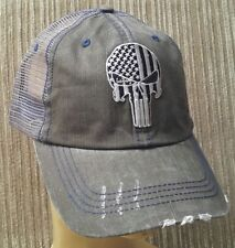 Punisher USA FLag Ball Distressed Trucker Gray Hat SOLID LINES Cotton Soft Mesh