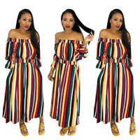 Women 3/4 Sleeves Off Shoulder Colorful Stripes Casual Cocktail Party Club Dress
