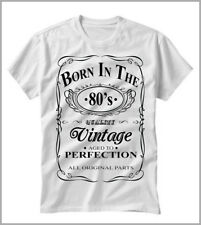 T-SHIRT UOMO DONNA AFORISMI  BORN IN THE 80's GENERATION VINTAGE GEN0573A80
