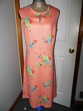 60'S VINTAGE RETRO PEACH FLORAL PRINT  DRESS by CHANNEL 1 BILL SIMS L/XL