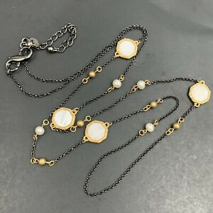 Lia Sophia Mixed Metal Station Necklace Extra Long Gunmetal Mother Of Pearl