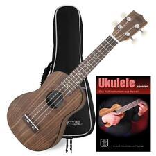 Ukulele Guitare Hawaii Uke 4 Cordes Nylon 12 Frettes Set avec Etui Couleur Noix
