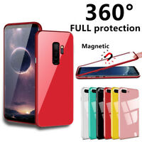 For Samsung Galaxy S7Edge/S8 S9 Plus Note 8 360 Magnetic Case Temper Glass Cover