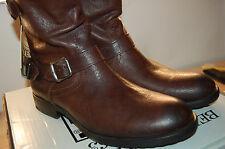 NIB Frye Dean Zip Short  full grain Hammered leather Dark Brown Boots Lined 10.5