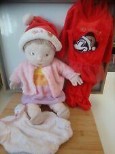 Lot peluche poupée chiffon blonde yeux bleus vêtements pyjama bonnet Noël Ikea