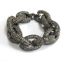 Butler and Wilson Pewter Swarovski Crystal Chunky Link Pave Bracelet NEW