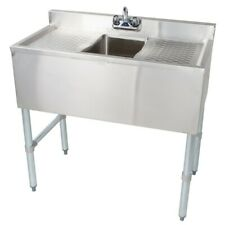 Stainless Steel Under Bar One Compartment Sink Left and Right Drainboard 19x36