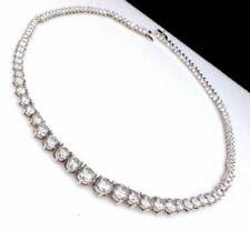"34.0CT Genuine Round Moissanite Diamond Tennis Necklaces 16"" 925 Sterling Silver"
