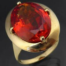 Big Bold & Intensely ORANGE SAPPHIRE 9k Solid Yellow GOLD COCKTAIL RING Sz O