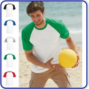 Mens Adults Baseball T-Shirt Summer Sports Gym Top with Contrast Short Sleeves