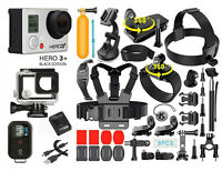 GoPro HERO3+ Black Edition Camera + 40 PCS Accessory + Waterproof Case + Remote