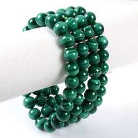 8MM Unisex Natural Malachite Round Beads Stone Stretch Bangle Bracelet Handmade