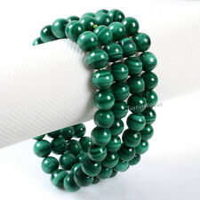 8MM Unisex Natural Malachite Round Beads Stone Stretch Bangle Bracelet Handmade