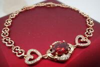 18K Yellow gold GF Solid Red Ruby Rococo Women's bracelet 7.5'-8'(19-21cm)