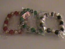 Freshwater Pearl, Red, Green & Black Seed Bead Set of 3 Bracelets