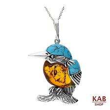 "BALTIC AMBER STERLING SILVER 925 BEAUTY PENDANT BIRD KINGFISHER+18""chain KAB-275"