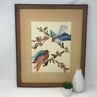 Vintage Wall Art Birds on Cherry Blossom Branch Acrylic Paint Framed Mid Century